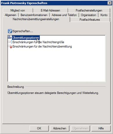 eMails mit Exchange Server 2007 an externe eMail-Adressen Weiterleiten