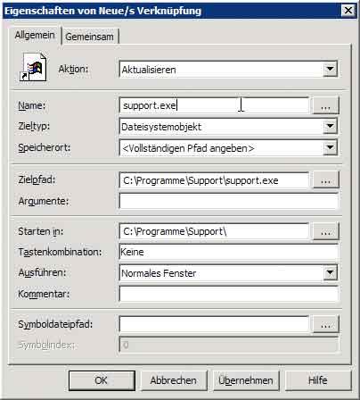 Verknüpfung via Gruppenrichtlinie - Reiter Allgemein
