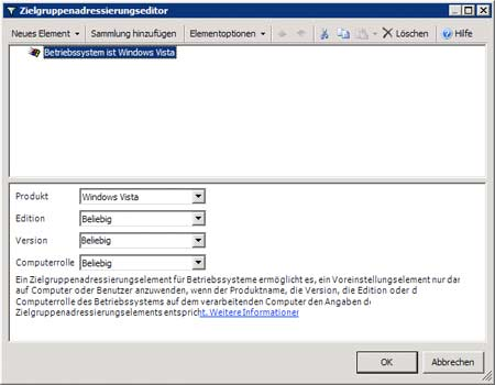 Zielgruppenadressierungseditor - Betriebssystem