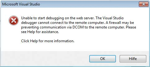 Remotedebugging - Unable to start debugging on the web server