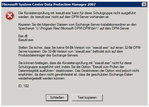 Fehlermeldung bei der Konfiguration des Schutzes von einem Microsoft Exchange Server 2003