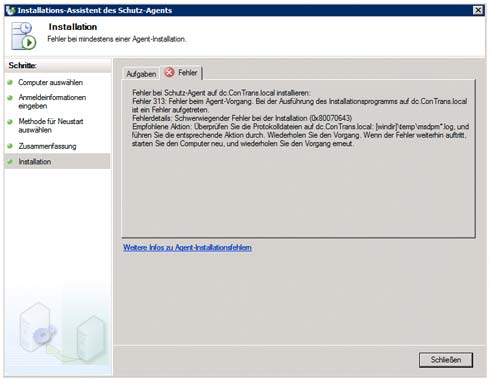 Fehlermeldung: DPM Agent Installation schlägt fehl